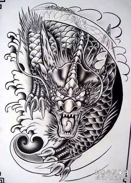 霸气的黑白麒麟纹身手稿