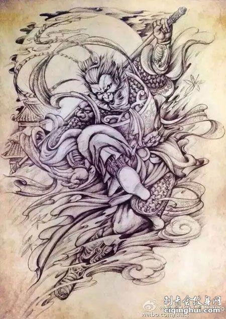 斗战胜佛纹身手稿