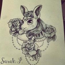 oldschool风格兔子纹身手稿