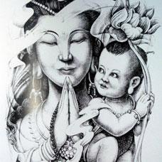 黑白送子观音菩萨纹身手稿