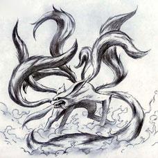 黑灰色九尾狐纹身手稿