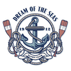 船锚船桨纹身手稿