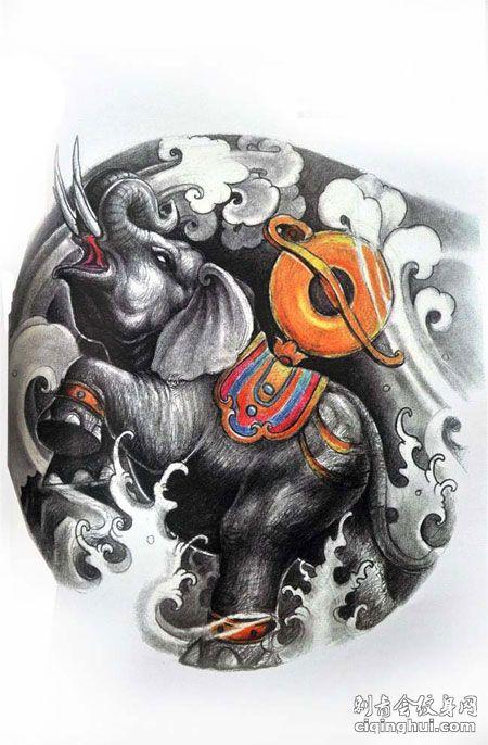 浪花中的黑灰色小象玉扣纹身手稿