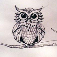 猫头鹰纹身手稿