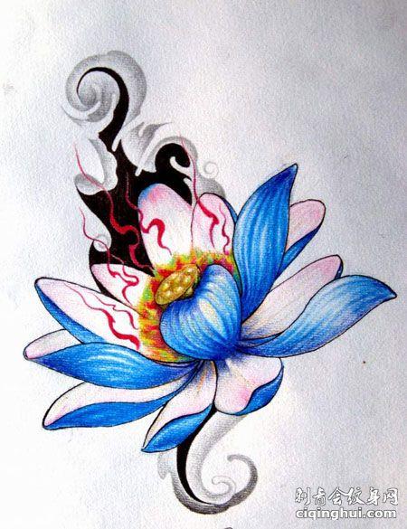 莲花纹身手稿