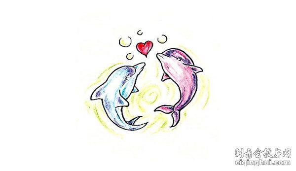 海豚心纹身手稿