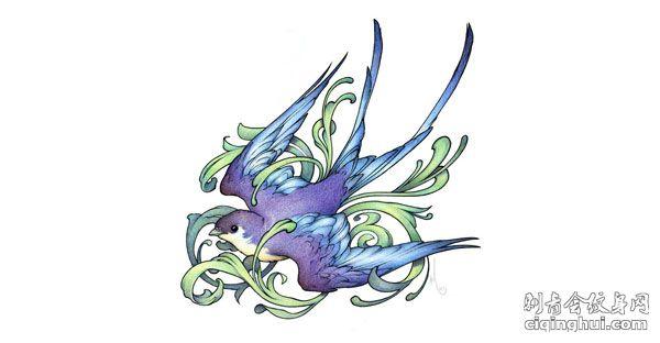 紫色小燕子纹身手稿