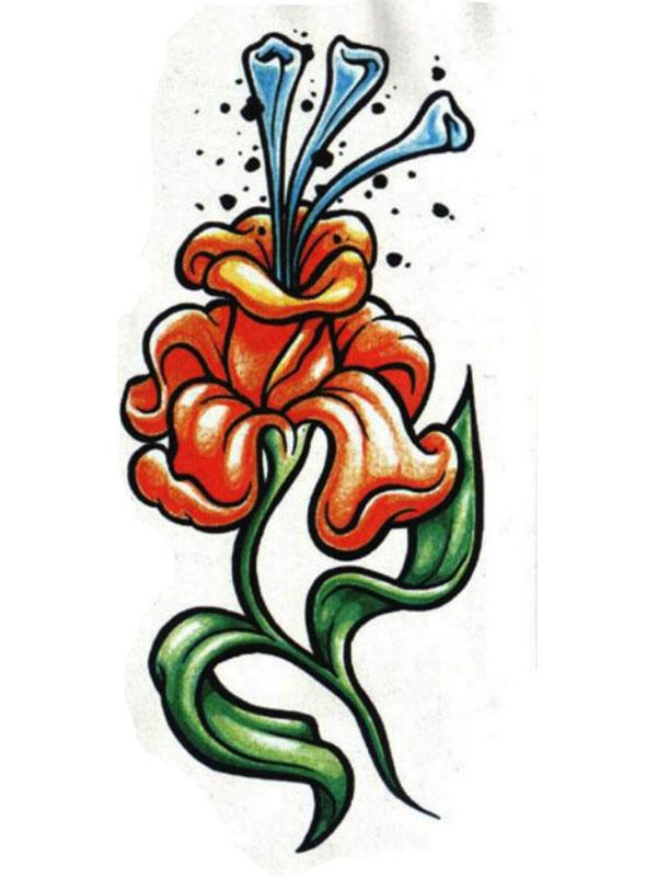 彩色花朵纹身手稿