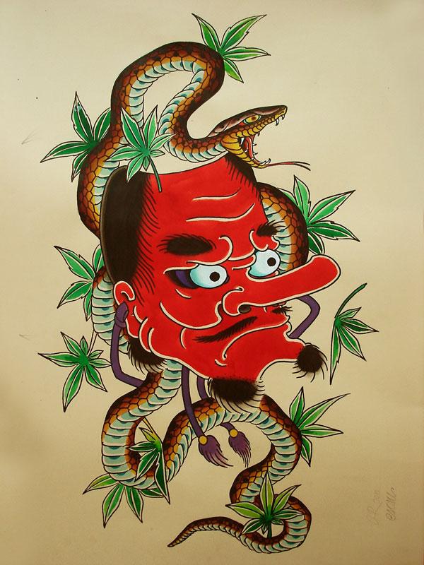 红色的鬼和蛇纹身手稿