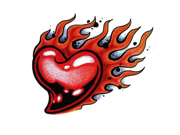 火焰爱心纹身手稿
