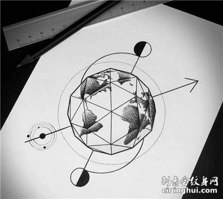 几何地球点刺风格纹身手稿
