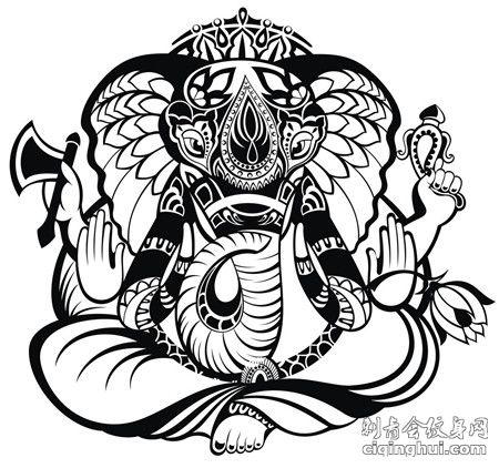 印度象神线条纹身手稿素材