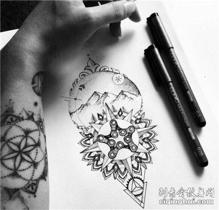 雪山链条几何点刺纹身手稿