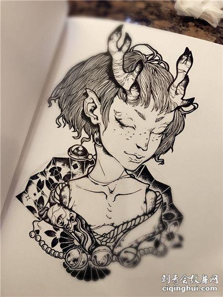 手绘龙女纹身图案手稿