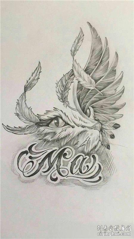 羽毛组成的猫创意纹身手稿