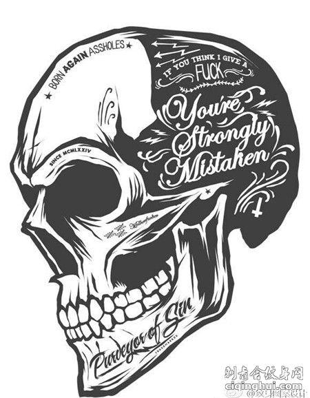 骷髅英文纹身手稿素材