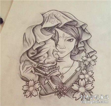 手绘少女般若面具纹身手稿