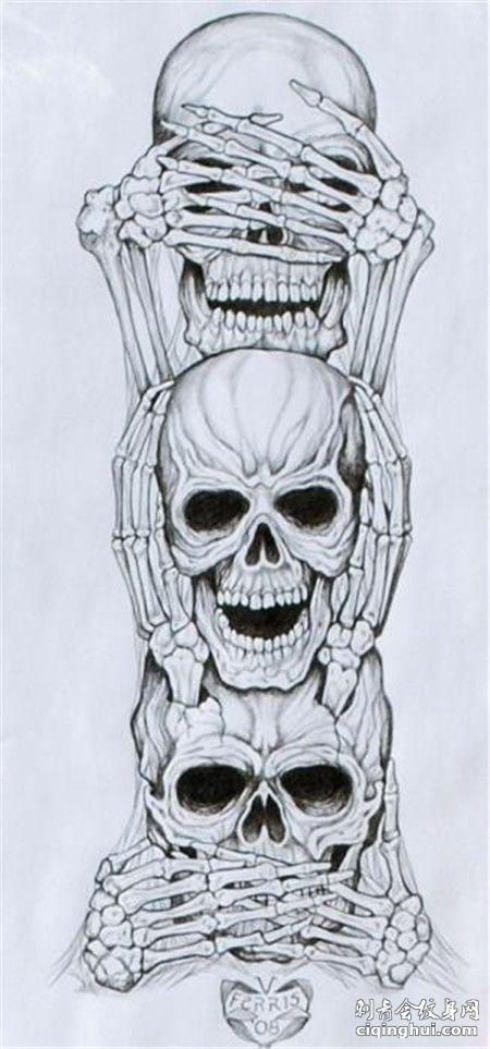 三不骷髅头纹身手稿素材