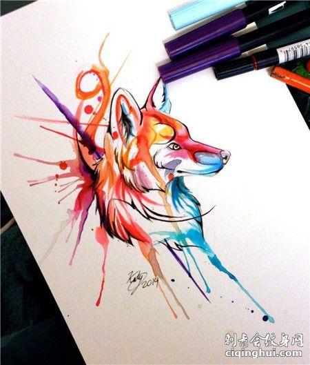 彩绘的狼头纹身手稿素材