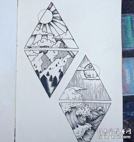 三角形日出和海浪纹身手稿