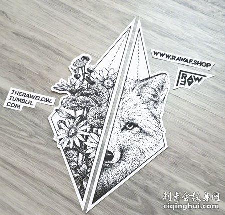 狼头和花卉组合纹身手稿