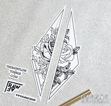 双边三角形玫瑰花纹身手稿