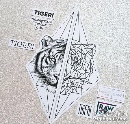 双边三角形老虎头纹身手稿
