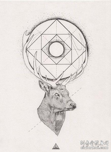 鹿头和几何图形纹身手稿