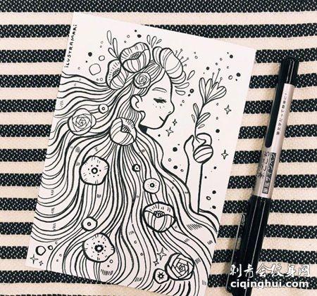 拿着花朵的长发小姑娘纹身手稿