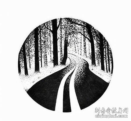圆形森林小路纹身手稿