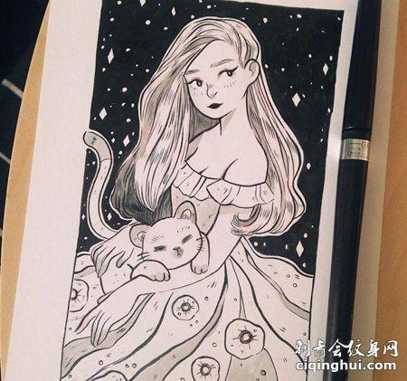 抱着猫咪的连衣裙女生纹身手稿