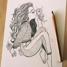 闻花香,眼镜小女生拿着花朵的纹身手稿