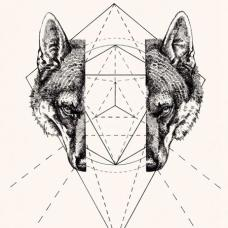 分割的狼头和几何纹身手稿