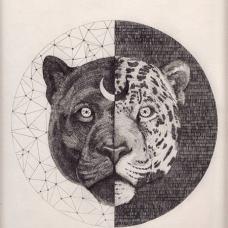 头上有月牙的豹子头纹身手稿