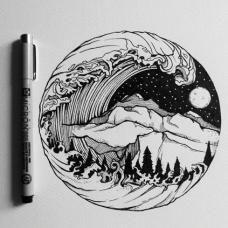 圆形海浪颠覆山脉纹身手稿