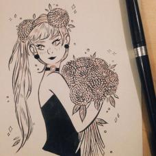 手捧绣球花束的女孩纹身手稿