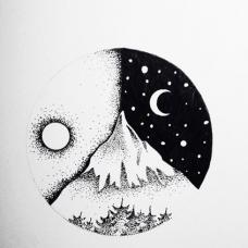 日以继夜,山脉纹身手稿