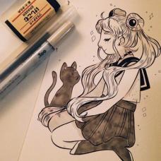 闭眼的小女生和猫咪纹身手稿
