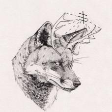 狼头和鹿角的创意结合纹身手稿