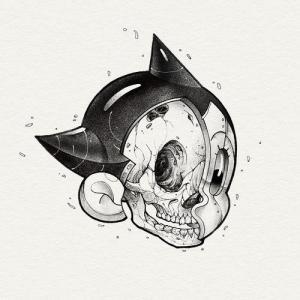 个性骷髅阿童木纹身手稿图片