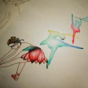 创意小清新芭蕾舞纹身手稿图片