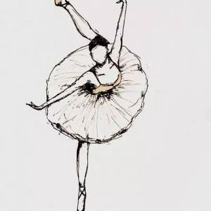 芭蕾舞女孩纹身手稿图片