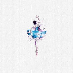 蓝色芭蕾舞女孩纹身手稿图片