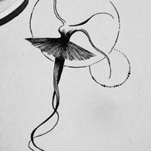 创意黑色线条芭蕾舞纹身手稿图片