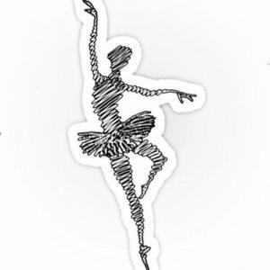 黑色线条芭蕾舞者纹身手稿图片