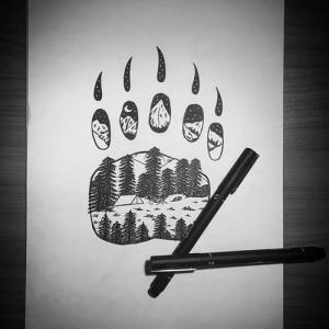 森林系熊脚印纹身手稿图片