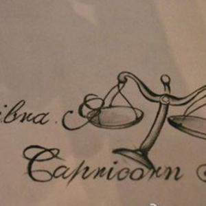 创意英文天平纹身手稿图片