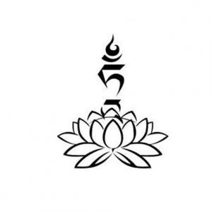 藏文黑白莲花瑜伽纹身手稿图片