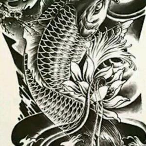 花臂鲫鱼纹身手稿图片