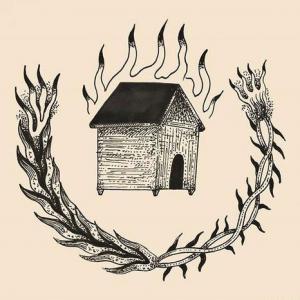 黑灰房子花环纹身手稿图片